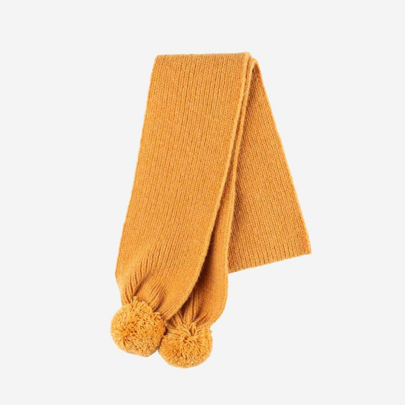 Bommelschal Alpaka-Merino amber gelb