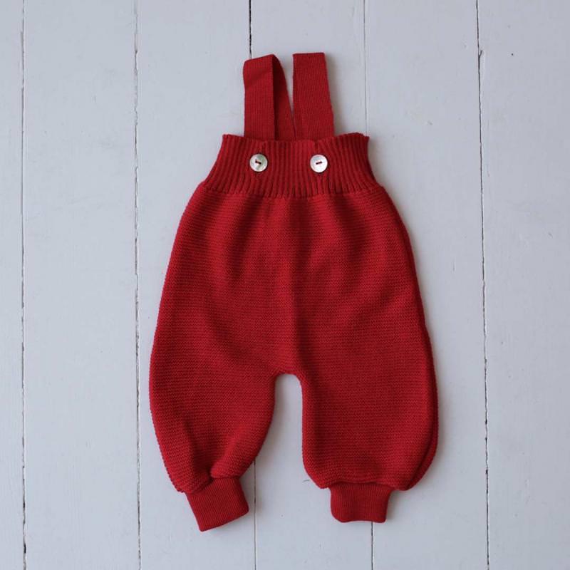 Baby Salopette Trägerhose von Selana aus Merinowolle in red