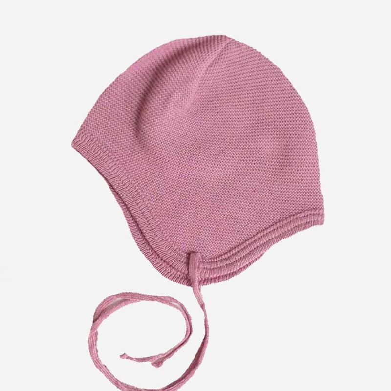 Babymütze gerauht Wolle rose grise