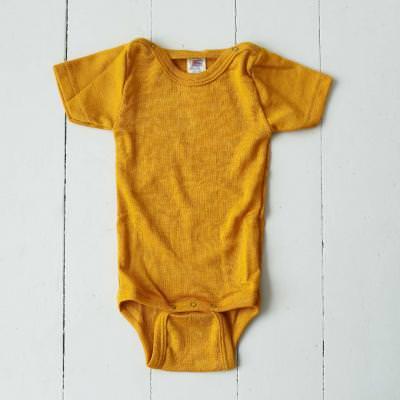 Body kurzarm Wolle/Seide safran 62/68