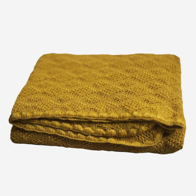 Babydecke Strickmuster Wolle curry