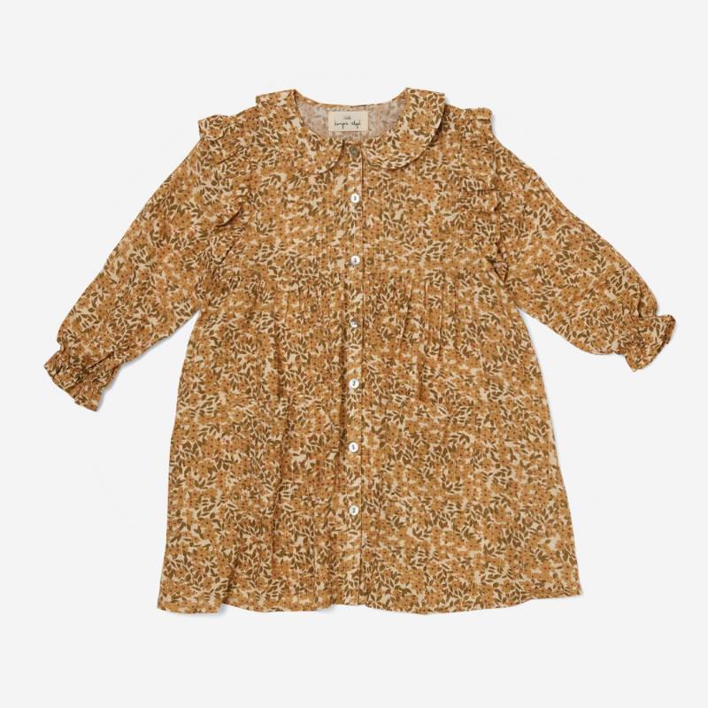 Kinder Kleid WILLOW von Konges Sløjd aus Bio-Baumwolle in winter leaves mustard