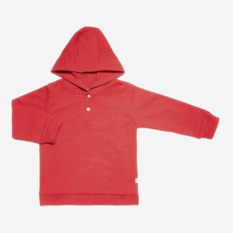leela cotton kapuzen sweat shirt ziegel rot
