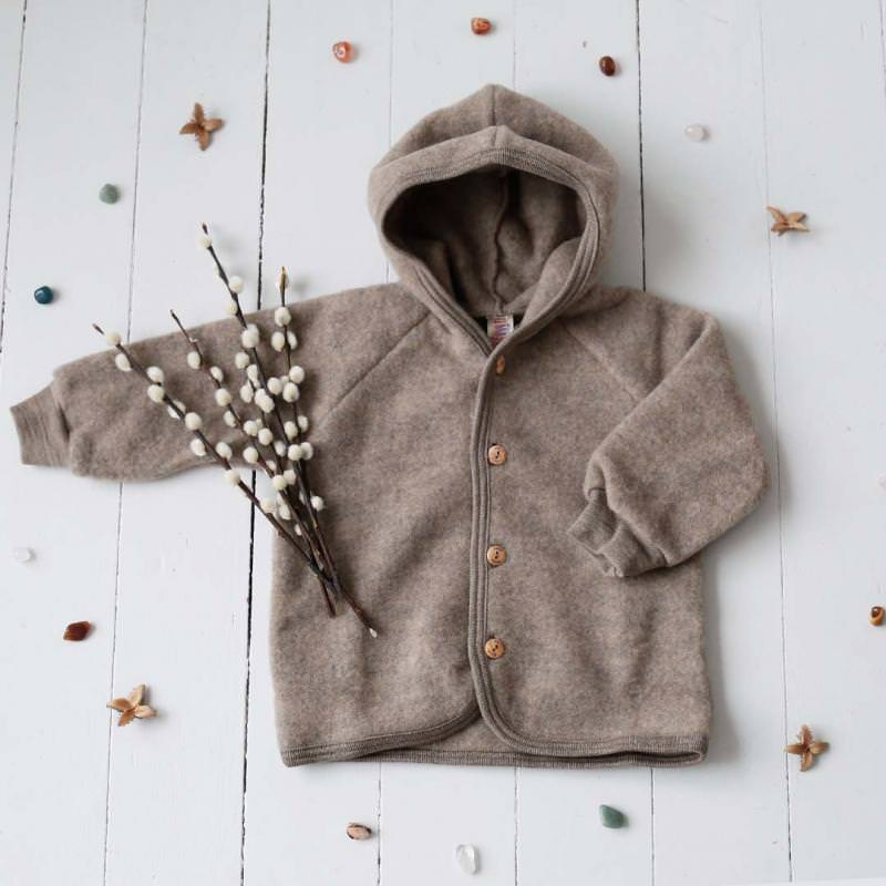 Baby Wollfleece Kapuzenjacke walnuss