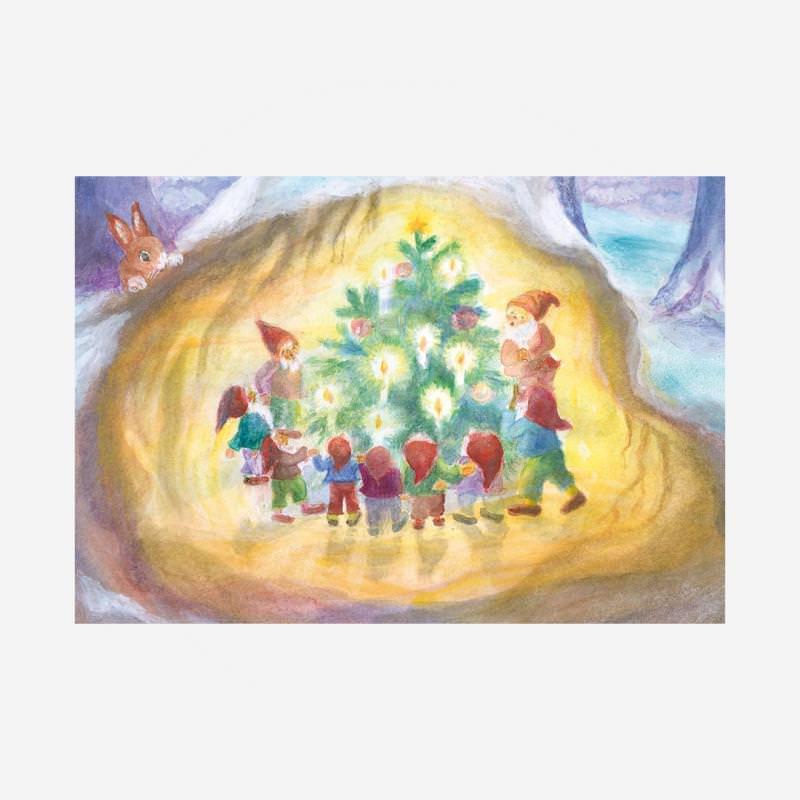 Die Zwerge bewundern den Weihnachtsbaum