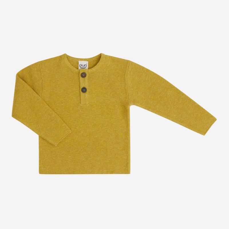 Pullover Henley Baumwolle/Leinen mango