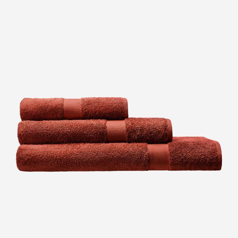 cotonea bio baumwolle frottier frottee handtuch ziegel rot