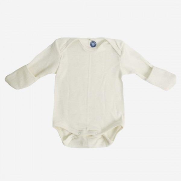 Babybody mit Kratzschutz Wolle/Seide