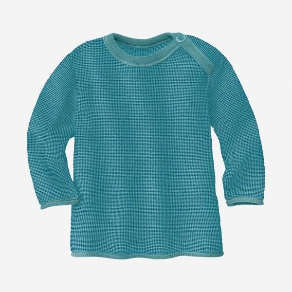 Melange-Pullover Wolle blau-lagoon
