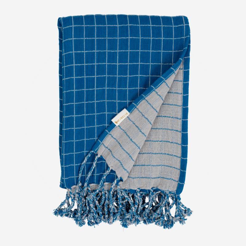 Baby Decke Grid bright blue