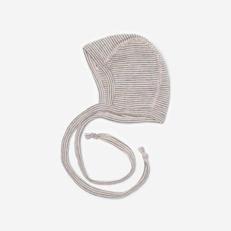 Baby Häubchen Wolle/Seide Ringel hellgrau