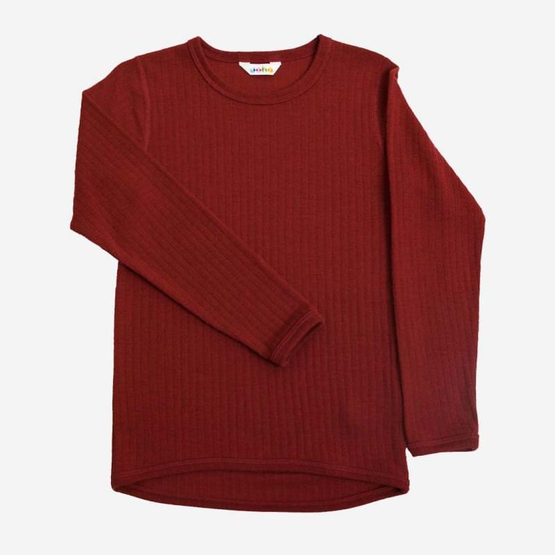 Shirt langarm Merinowolle rot