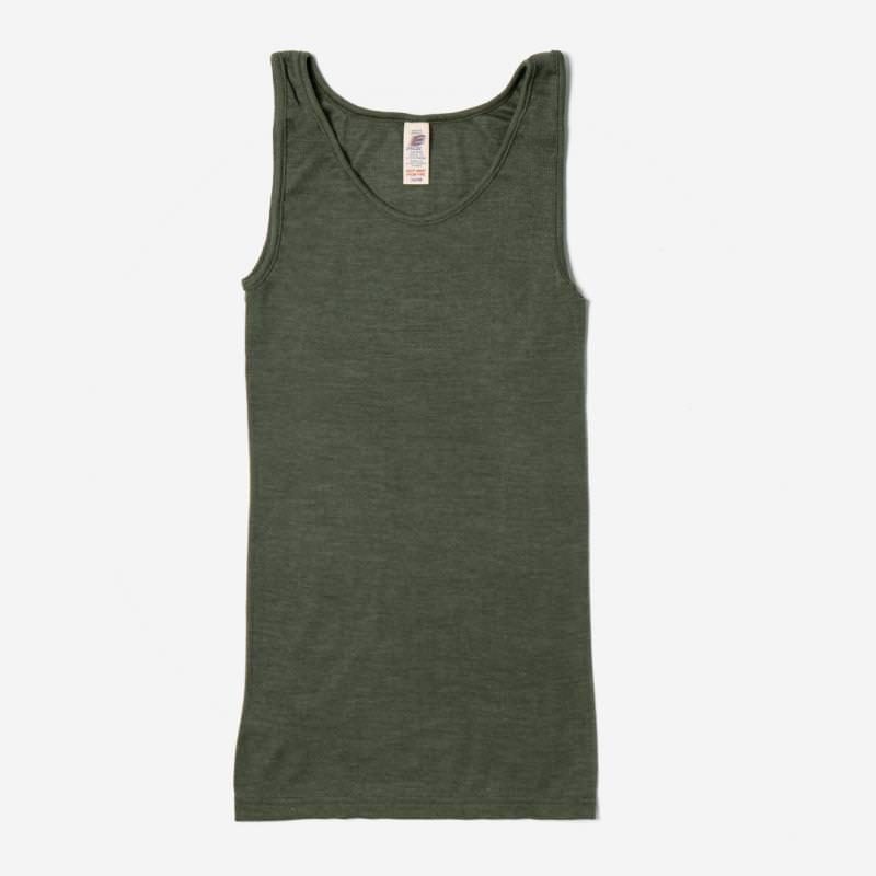 Damen Trägerhemd Wolle/Seide olive