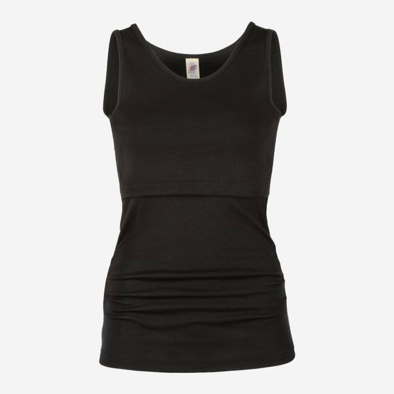 Damen Stillhemd Wolle/Seide schwarz