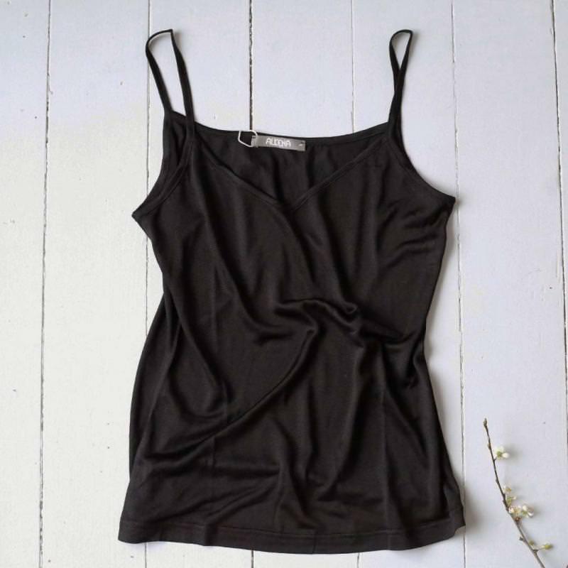 Trägerhemd Seide schwarz