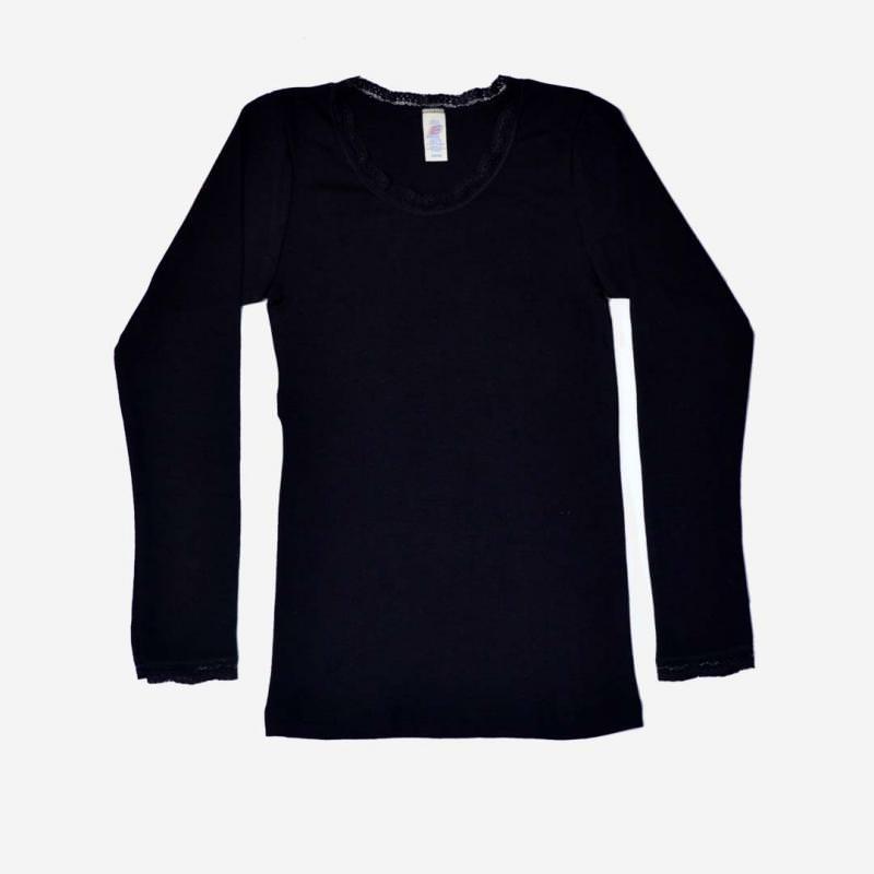 Damen Shirt Wolle/Seide langarm mit Spitze