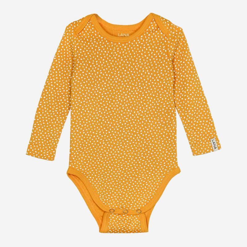Baby Body Paula von Lana aus Bio-Baumwolle sonnengelb gepunktet