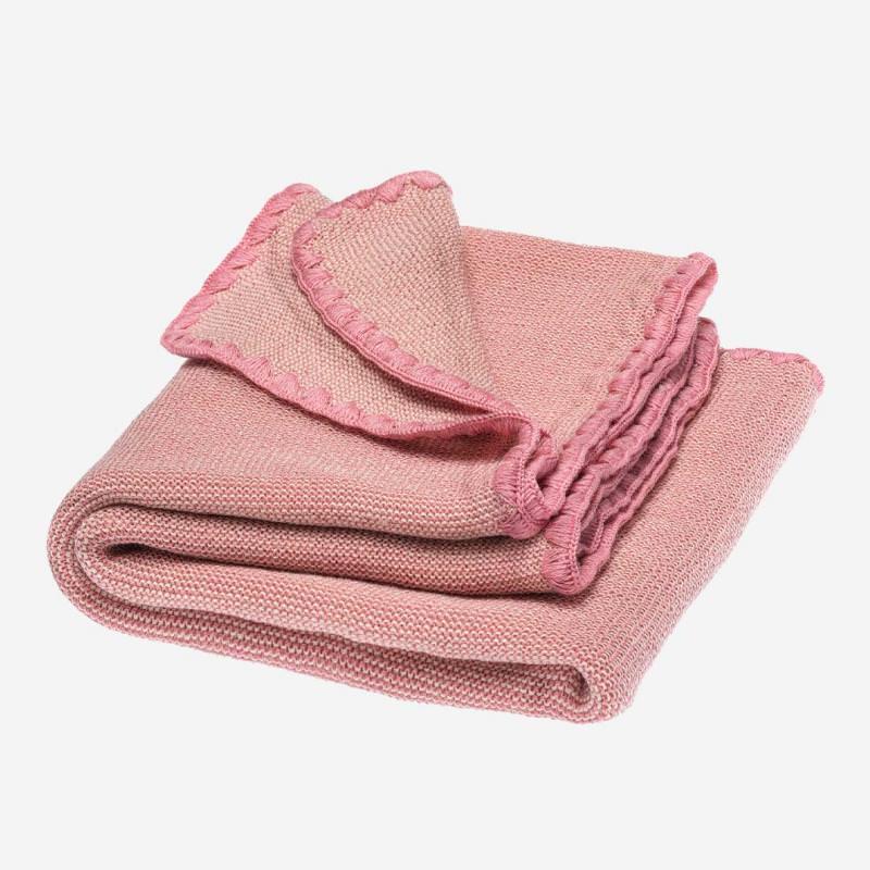 Baby Melange Wolldecke von Disana in natur/rosa