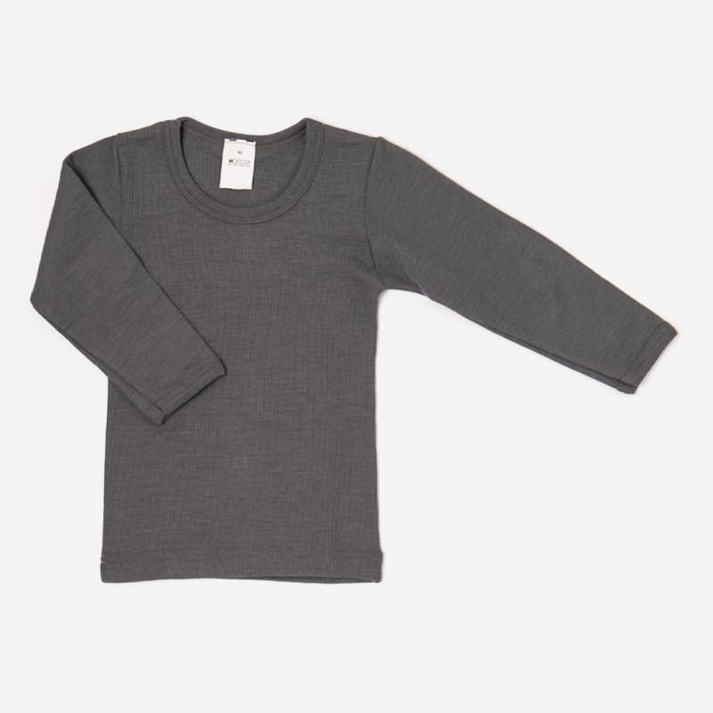 Unterhemd Wolle/Seide grau langarm Shirt anthrazit 1