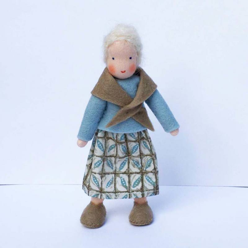 Puppenstuben Oma warmes grau/hellblau
