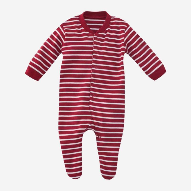 Schlafanzug Ringel rot aus Bio-Baumwolle von Living Crafts