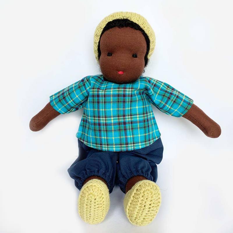 Puppen Junge nach Waldorfart groß schwarzes Haar