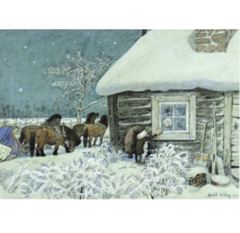 Postkarte Tomte Tummetot am Fenster