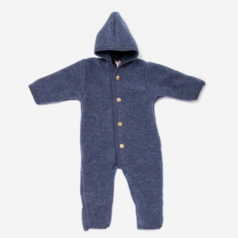 Baby Overall von Engel aus Wollfleece in blau melange