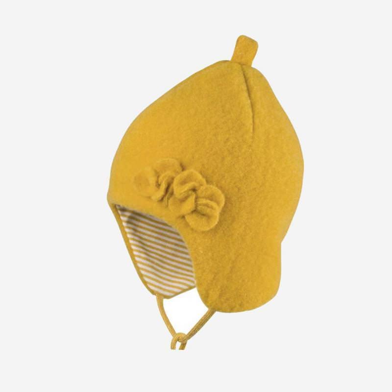 Mütze mit Blume Fleece gelb