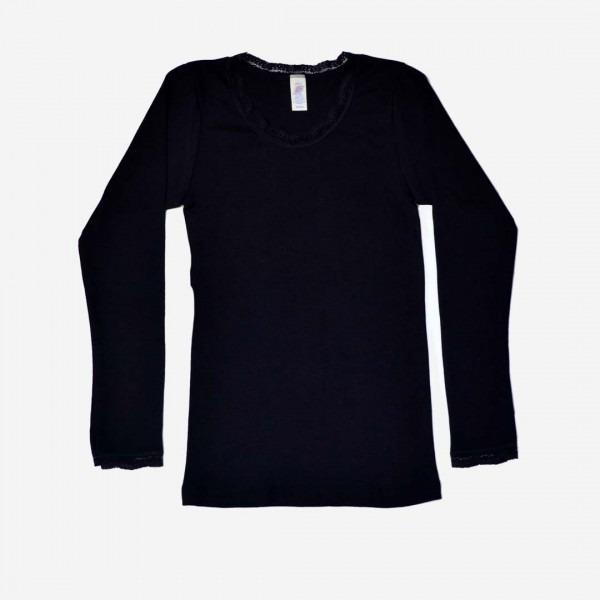 a73d125e6b597c Damen Shirt, langarm, mit Spitze | Lila Lämmchen Onlineshop
