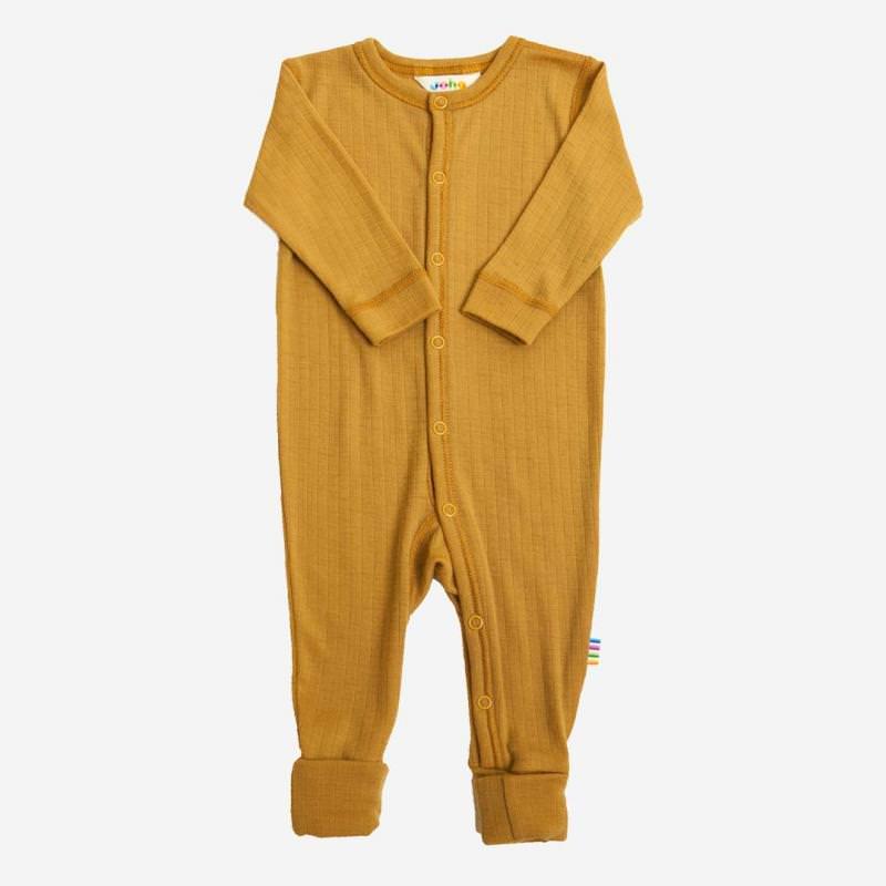 Schlafanzug Merinowolle curry gelb