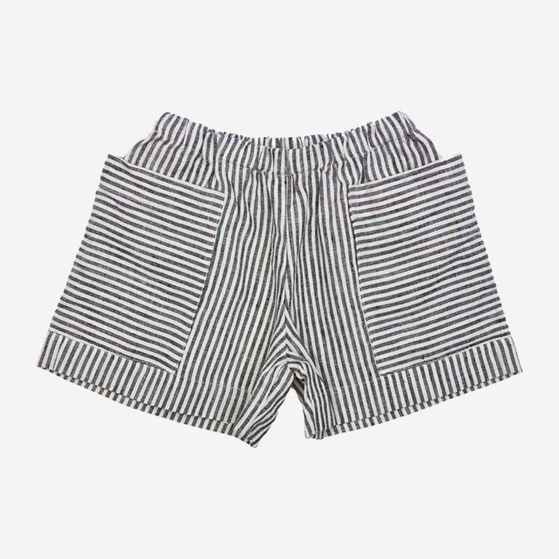 Pocket Shorts Leinen grey striped
