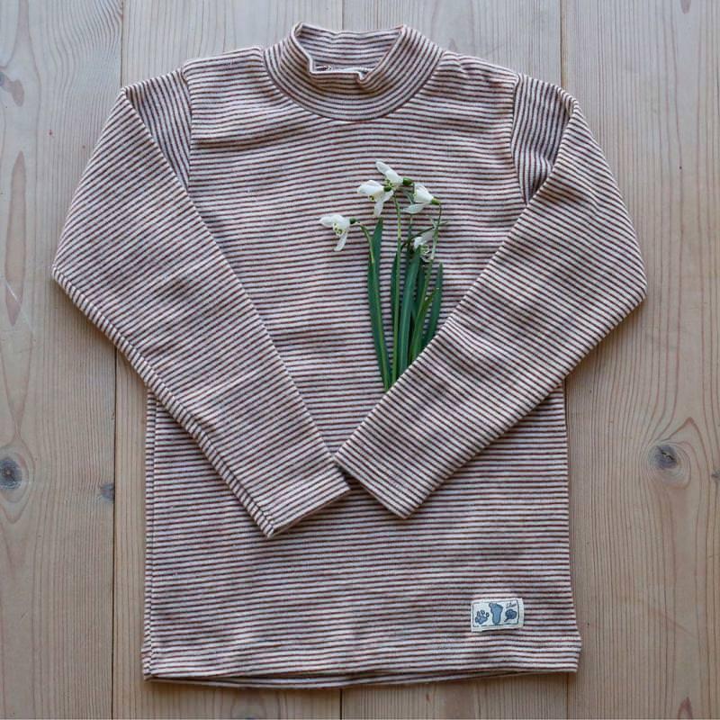 Shirt Stehkragen Wolle/Seide Ringel rust