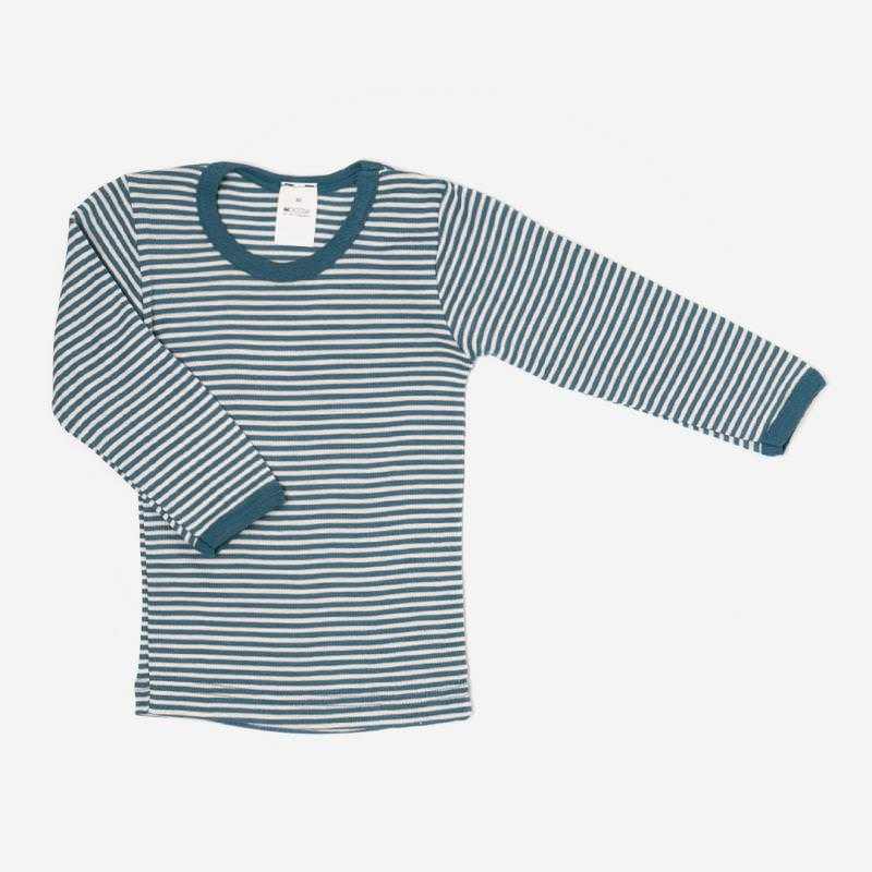 Kinder Unterhemd von Hocosa aus Wolle/Seide in blau ringel langarm shirt 1