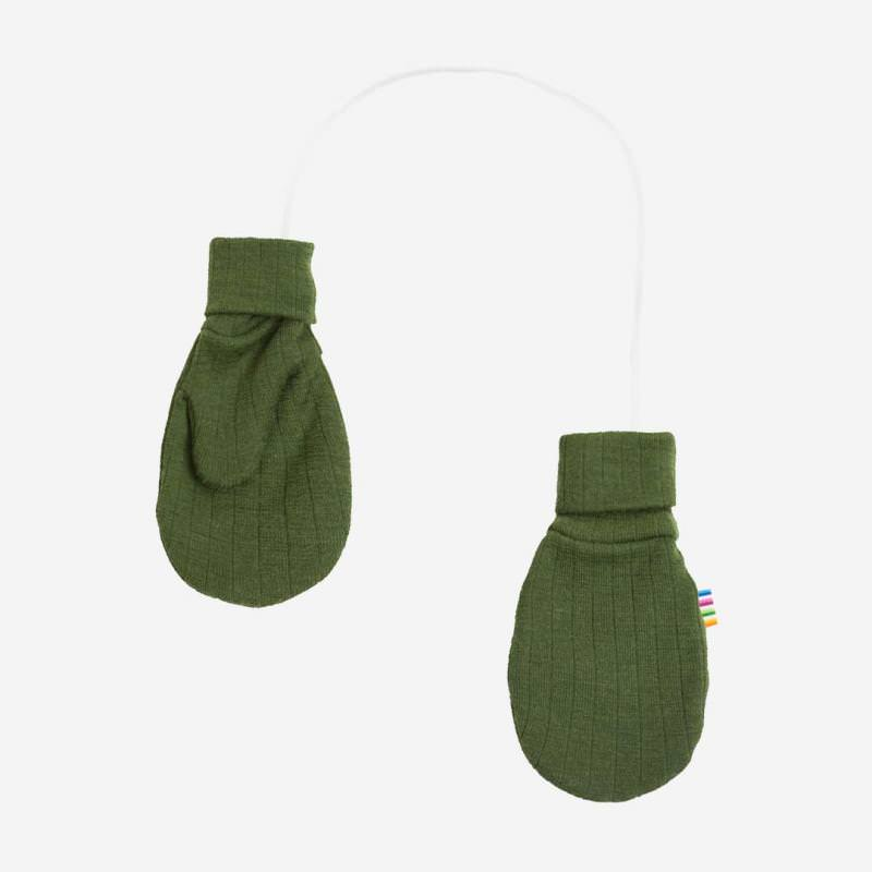 Handschuhe Fäustlinge Merinowolle flaschengrün