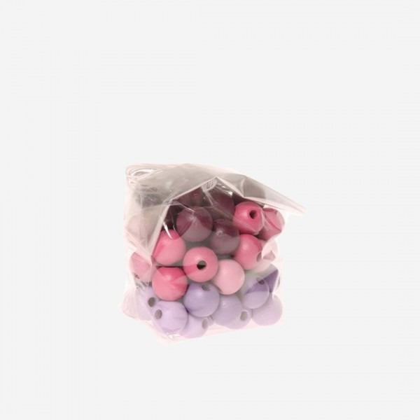 60 Holzperlen rosa-lila 12mm
