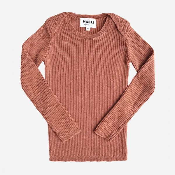 Pullover Skinny Rib Merinowolle rosewood