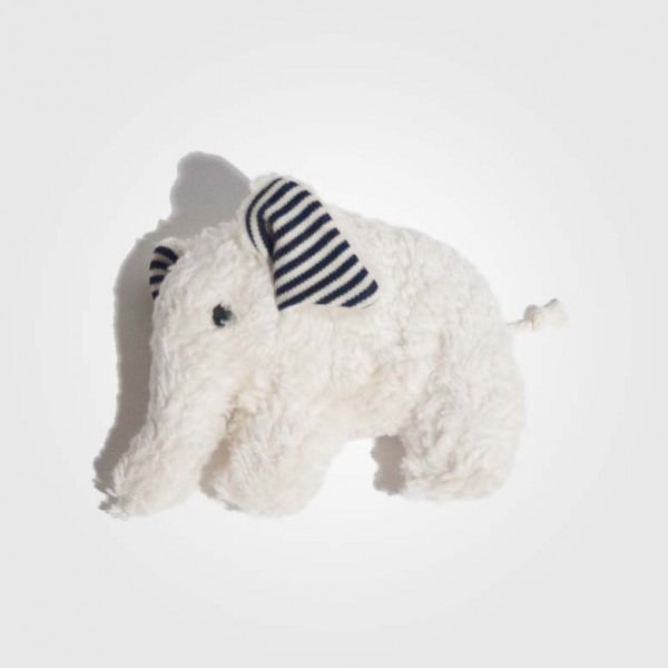 Elefant weiß blau/weißes Ohr