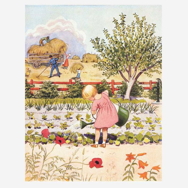 """Postkarte """"Mädchen bei der Gartenarbeit"""""""