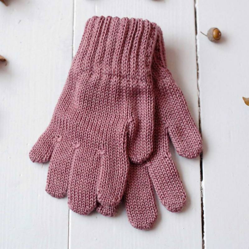 Finger Handschuhe Merinowolle mauve