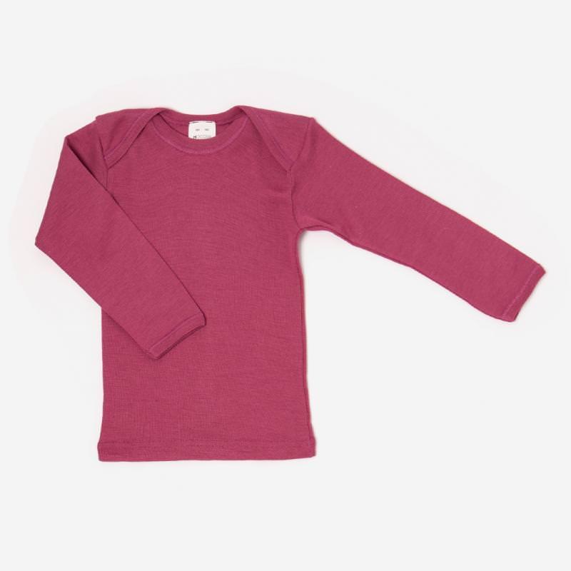Schlupfhemd Uni Wolle/Seide fuchsia Shirt langarm Schlupfkragen pink beere 1