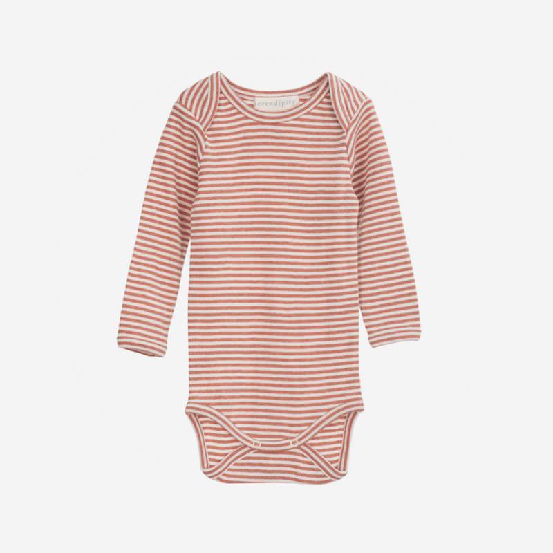 Baby Body Stripe brick/offwhite