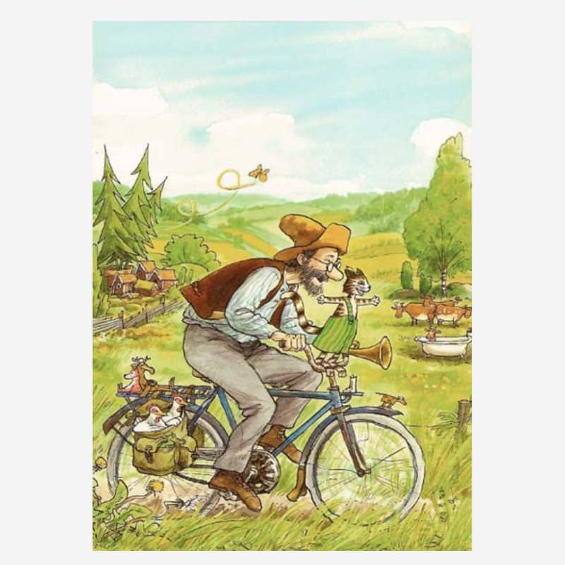 Postkarte Pettersson fährt Fahrrad