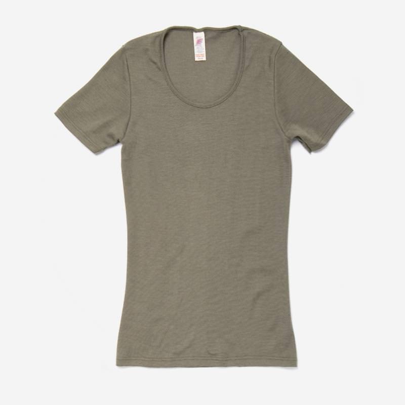 Damen kurzarm Shirt mit Rundhalsausschnitt von Engel Natur aus Wolle/Seide in olive