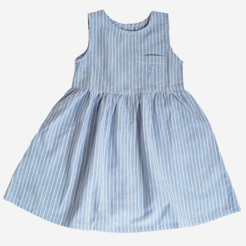 Sommerkleid hellblau/weiß | Lila Lämmchen Onlineshop