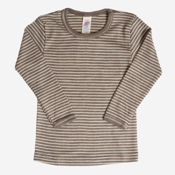 Unterhemd walnuss Ringel Wolle/Seide