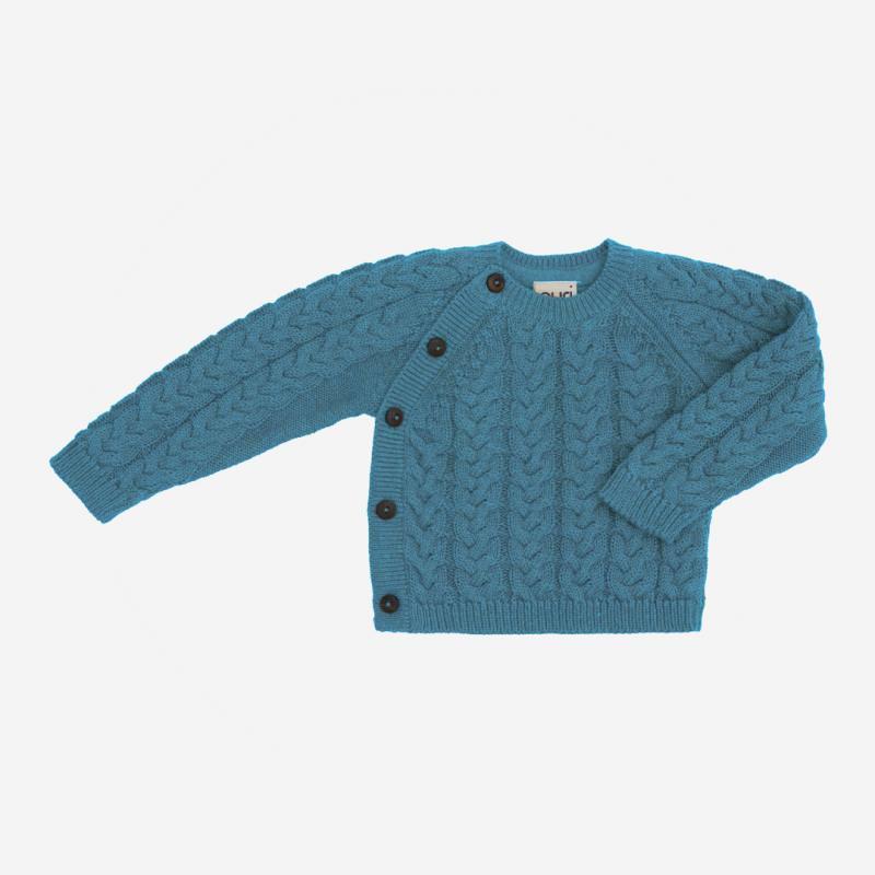 Kimono Zopfmuster von Puri Organic aus Bio-Baumwolle und Wolle in smoke blue