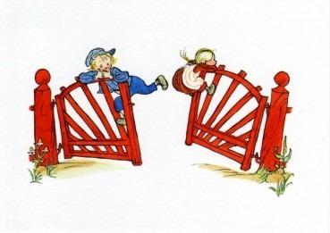 Postkarte Michel und Ida am Zaun