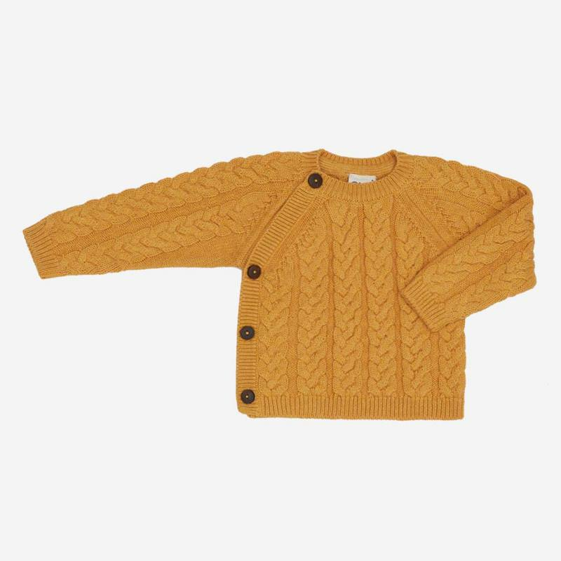 Pullover Zopfmuster Baumwolle Wolle okker