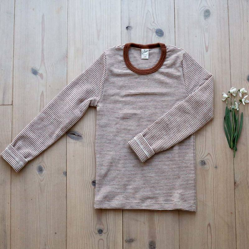 Shirt Wolle/Seide Ringel rust